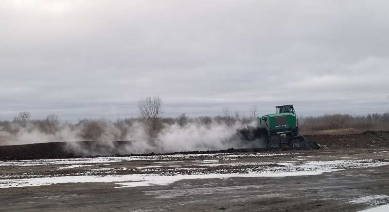 Once compost bins are full, the contents are spread at this Polk County, Minn. facility